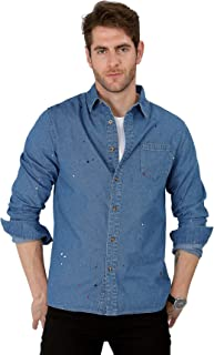 VICALLED Men Denim Shirt Unique Spray Printing Design Casual Cotton Long Sleeve Button Down Work Shirts