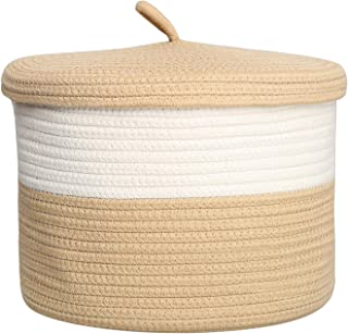 yukimocoo S Size Camel Woven Basket, Cotton Rope Basket with Lid, Cute Small Storage Basket, Small Organization Basket, Woven Basket, Desk Basket Organizer (Camel & White)
