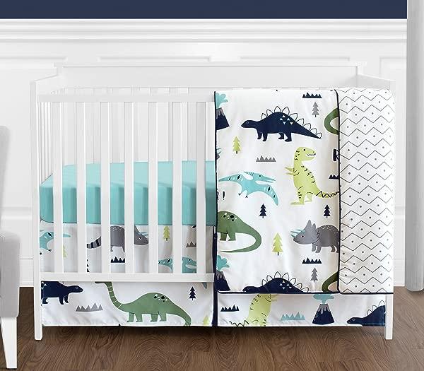 海军蓝色和绿色现代恐龙男婴或女孩 4 件婴儿床床上用品套装无保险杠 Mod Dino 系列