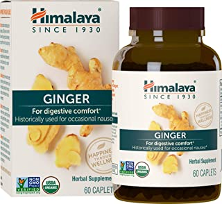 Himalaya Organic Ginger, Digestive Relief Supplement for Nausea, Gas and Occasional Upset Stomach, 820 mg, 60 Caplets, 2 M...