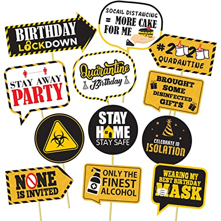 party propz funny happy quarantine birthday photo booth 12pcs social distancing party photo booth props kit made in india- Multi color