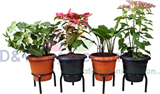 D&V Engineering -Iron Single Ring Pot/Matka/Plant Stand for Home Garden or Balcony (Black-Set of 4)