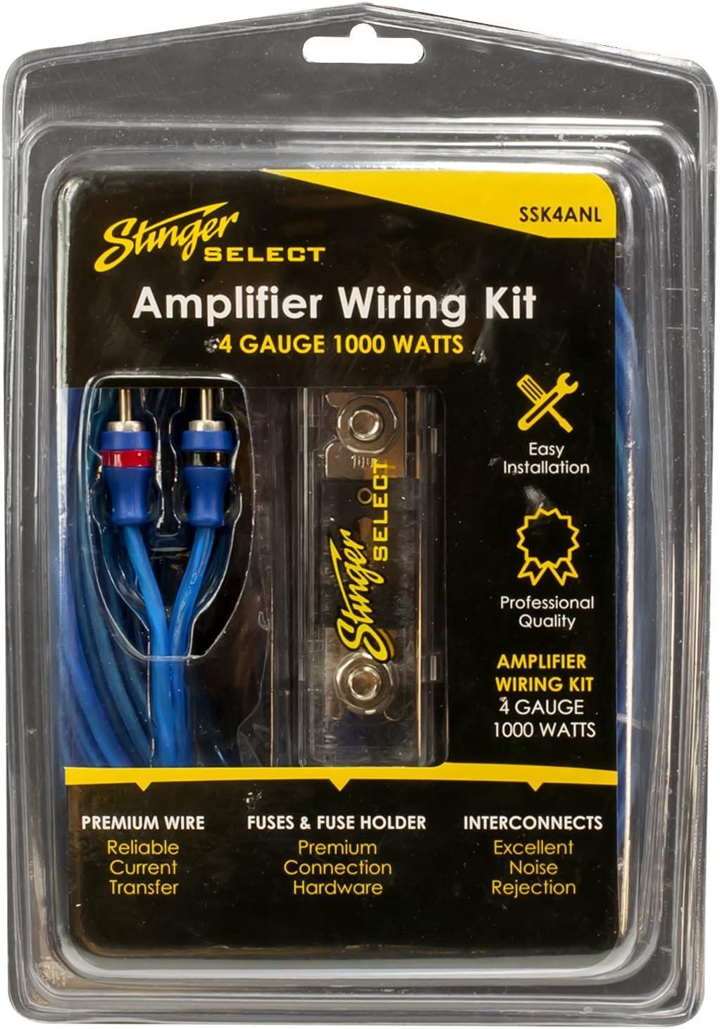Amazon.com: STINGER SSK4ANL 4Ga 1000W Complete Wiring Kit, Blue, 10.25