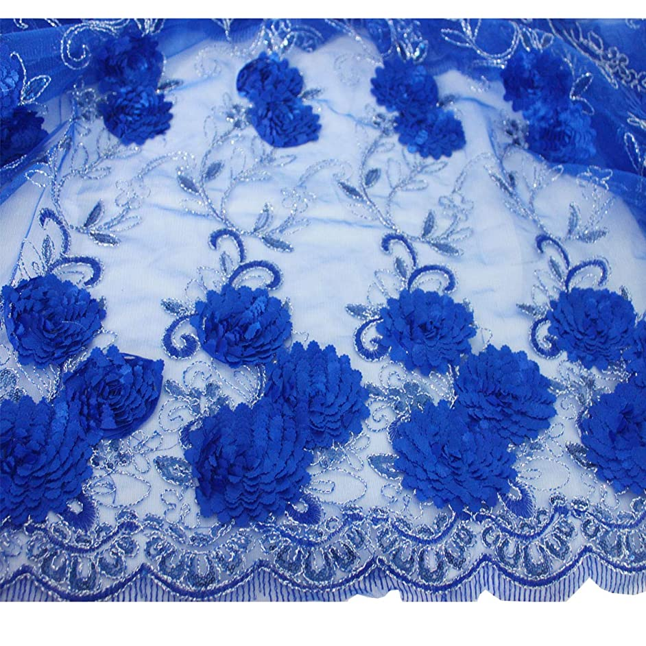 Lacerain 5 Yards Nigerian Handmade 3D Flower Wedding Lace Fabric Latest African Laces 2019 French Net Lace Fabric(Blue)