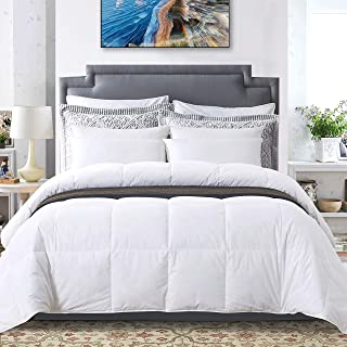 Ubauba All-Season Down Comforter 100% Cotton Feather Comforter with Corner Tabs, Quilted Lightweight Goose Down Duvet Insert - Queen/Full 90x90