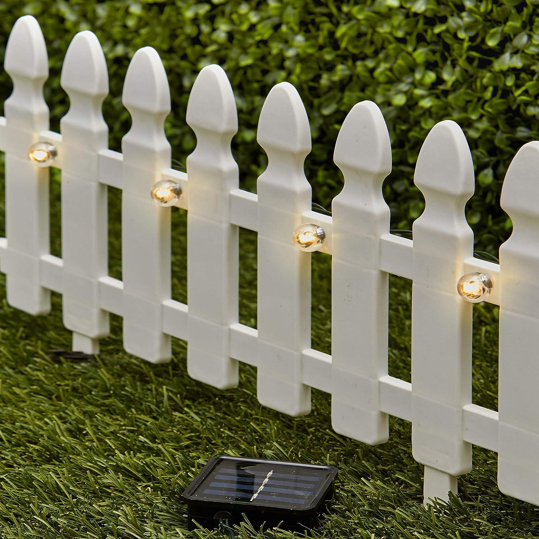 Amazon Com The Lakeside Collection 6 Ft Solar Border Fence Panel Garden Landscape Edging Stake White Garden Outdoor