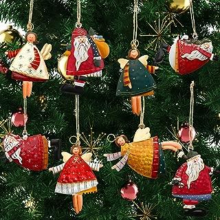 Boao 8 Pieces Christmas Ornaments Set Santa Angel Ornaments Tin Santa Angel Decorations for Christmas Favors