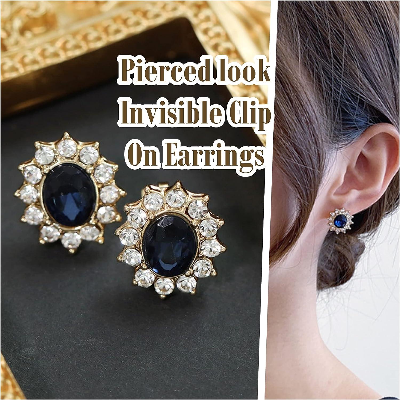 Miyabi Grace Women's Elegant Navy Blue Crystal Rhinestone Pave Invisible Clip On Earrings Comfortable Non Pierced Earrings Gold Tone Pierced Look