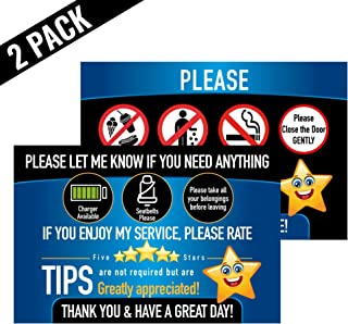 Rideshare Driver Signs Rating Tips Accessories Large 9x6 Inch Premium Synthetic Poly 14 mil Paper Tear Proof Backseat Headrest Display Cards pk 2 Cards Perfect for Your Business Made in The USA