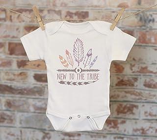 New To The Tribe Onesie® in Pink, Bohemian Onesie, Feather Onesie, Cute Baby Bodysuit, Cute Onesie, Boho Baby Onesie