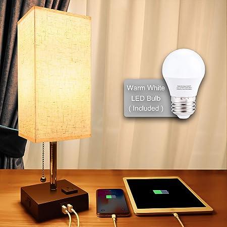 Lámpara de mesita de noche con USB, lámpara de escritorio minimalista con puerto de carga, lámparas para dormitorios, luz ambiental, lámpara de mesita de noche moderna con cadena de tracción de Cotanic