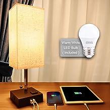 Lámpara de mesita de noche con USB, lámpara de escritorio minimalista con puerto de carga, lámparas para dormitorios, luz ...