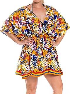 b621c1a70fa8d LA LEELA Coverup Beach Bikini Swimwear Swimsuit Caftan Dress Women Printed