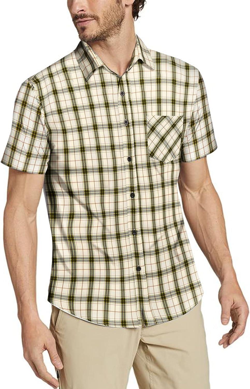 COOFANDY Men's Short Sleeve Plaid Dress Classic Shirt Trust Fit Wrinkl Limited time cheap sale