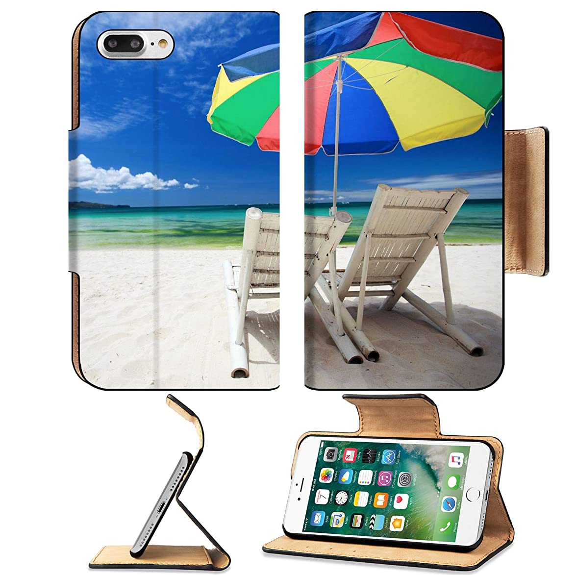 Liili Premium Apple iPhone 7 plus iPhone 8 plus Flip Pu Wallet Case Two beach chairs and colorful umbrella on perfect tropical beach Photo 7713896