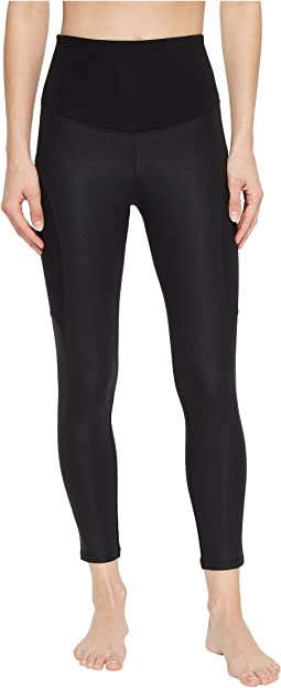 Coated Side Panel Ankle Length Leggings