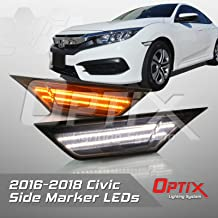 P.RA Compatible with 2016-2017 Honda Civic Smoked LED Front Side Marker Light - LED Turn Signal Housing Parking Light Replacement Lamp