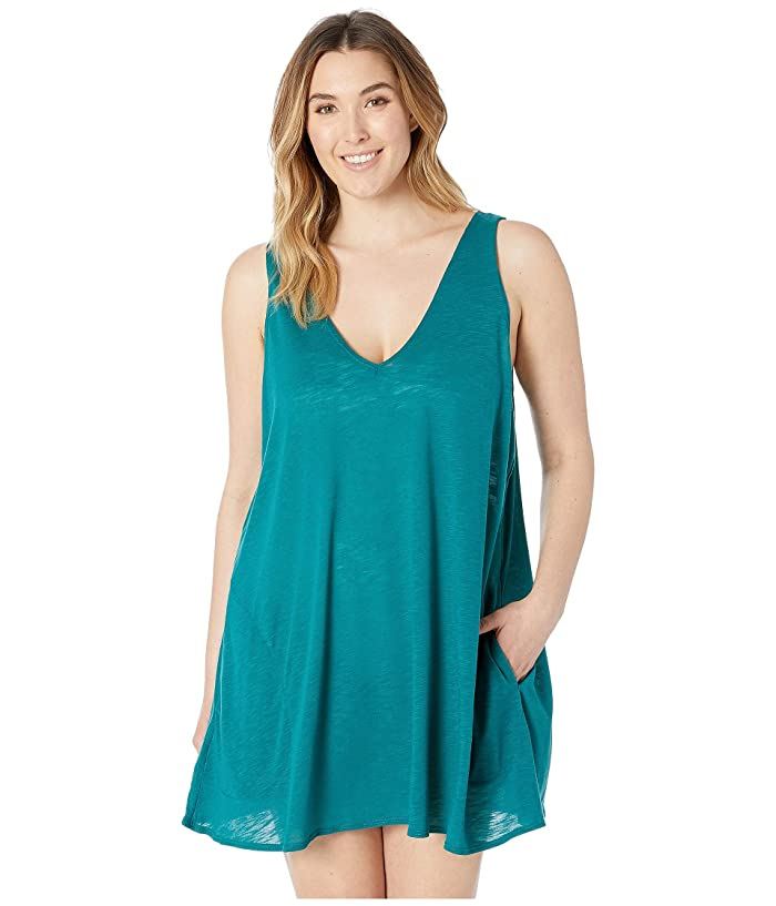 BECCA by Rebecca Virtue Plus Size Tank Dress Cover-Up (Fern) Women