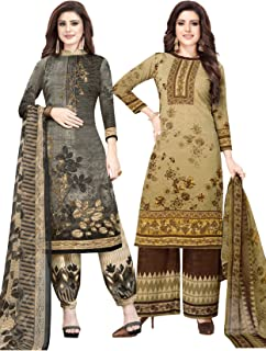 S Salwar Studio Women's Pack of 2 Synthetic Printed Unstitched Dress Material Combo-MONSOON-2892-2890