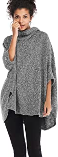 ZAFUL Women's Oversized Poncho Sweater Cowl Neck Knit Pullover Tunic Top