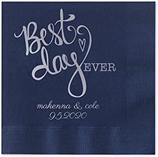 Canopy Street Best Day Ever Heart Personalized Beverage Cocktail Napkins - 100 Custom Printed Navy Blue Paper Napkins with choice of foil