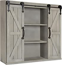 Kate and Laurel Cates Wood Wall Storage Cabinet with Two Sliding Barn Doors, Rustic Gray
