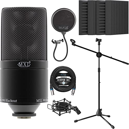 """discount MXL 990 Cardioid Condenser high quality Microphone for Vocals and Guitars (Black) Bundle with Blucoil 20-FT Balanced XLR Cable, Pop Filter, sale Adjustable Microphone Tripod Stand, and 4x 12"""" Acoustic Wedges outlet online sale"""