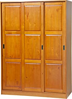 100% Solid Wood 3-Sliding Door Wardrobe/Armoire/Closet or Mudroom Storage by Palace Imports, Honey Pine. 1 Large/4 Small Shelves, 1 Rod Included. Extra Large Shelves Sold Separately. Requires Assembly