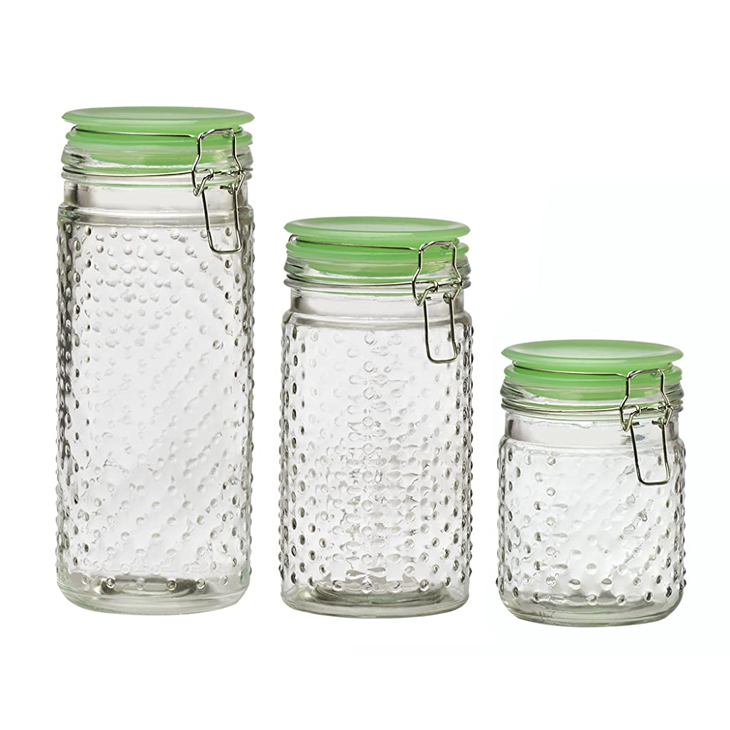 Amici Home A7CT003AS3R Assorted Emma Jade Hobnail Collection Jar-Set of 3, Sizes