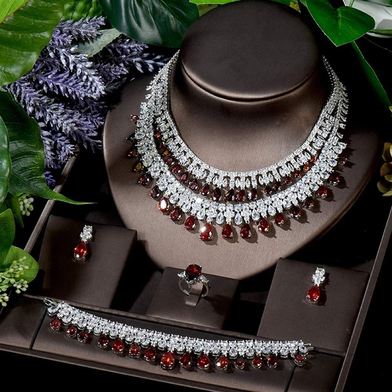 WJCRYPD Necklace Set Exclusive Necklace Earring Ring Bracelet Set Women Bridal Accessories Gifts CZ Wedding Ornament Collier Mariage Jewelry Set SurongL (Color : Red)
