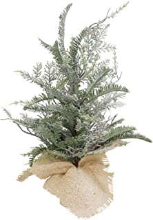 VGIA 18 inch Mini Spray Snow Christmas Trees Artificial Branches Christmas Tree with a Burlap Bag Base