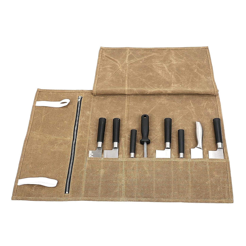 有効化オーブン地上のQEES 巻き包丁ケース 収納バッグ 8本 巻タイプ 携帯 便利 防水 安全 軽量 73*47cm 家庭用コック用 DD11 (ブラウン)