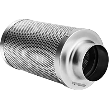 """VIVOSUN 4 Inch Air Carbon Filter Odor Control with Australia Virgin Charcoal for Inline Fan, Grow Tent Odor Scrubber, Pre-filter Included, Reversible Flange 4"""" x 14"""""""