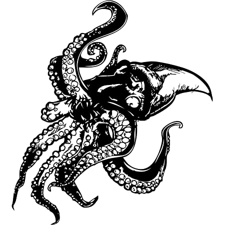 Giant Octopus Wall Decal Sticker (Black Color). Large 60in Tall x 54in Wide. Easy to Apply & Removable.