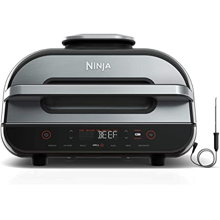 Amazon Com Ninja Fg551 Foodi Smart Xl 6 In 1 Indoor Grill With 4 Quart Air Fryer Roast Bake Dehydrate Broil And Leave In Thermometer With Extra Large Capacity And A Stainless Steel Finish Kitchen Dining