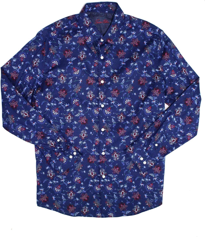 Tasso Elba Mens Shirt Button Down Floral Print Classic Fit Blue L