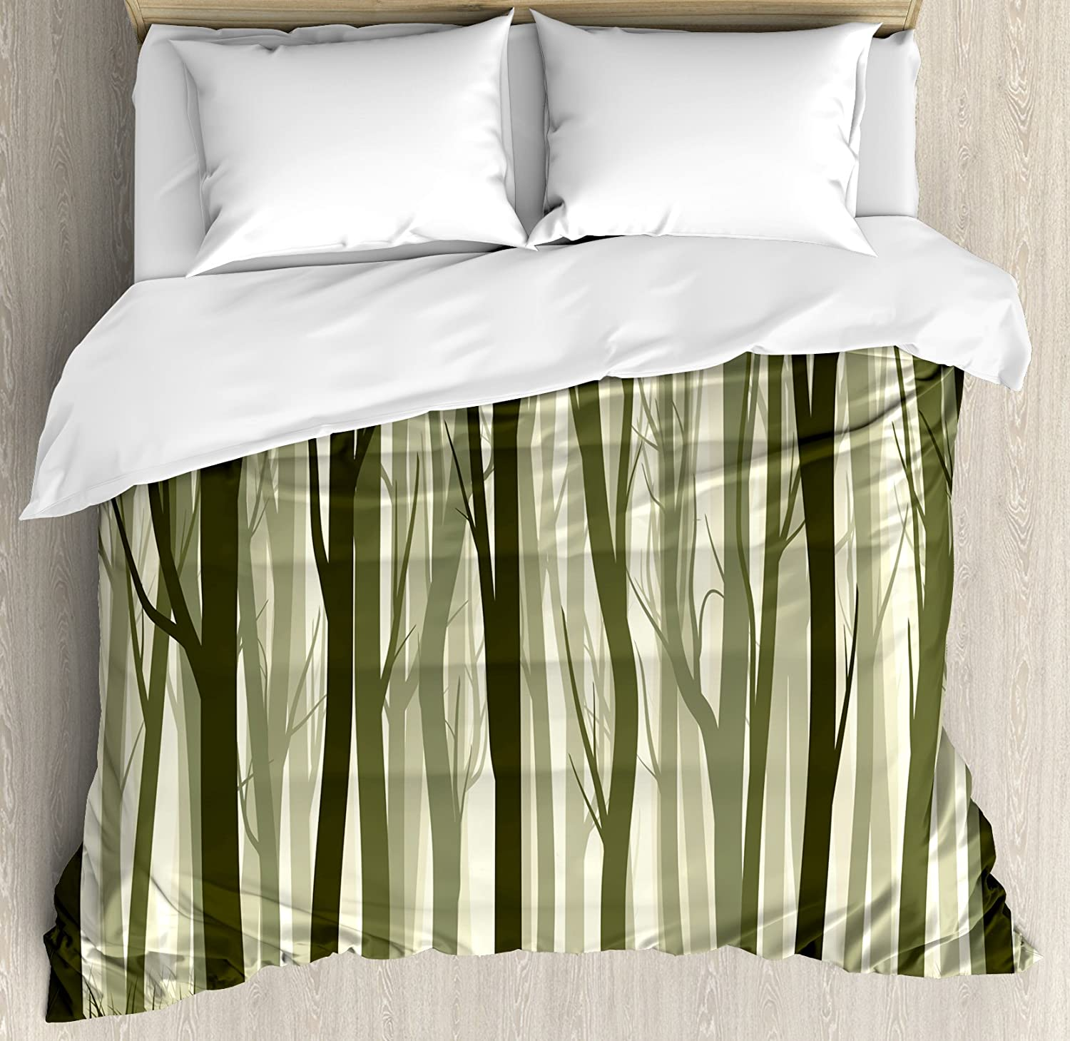 Ambesonne Forest Duvet Finally popular brand Cover Set Themed Mother Illustrat Nature low-pricing