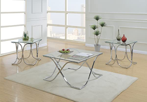 Major Q Pxf903142 3Pc Modern Style 8mm Tempered Glass Top Chrome Finish Coffee And End Table Set