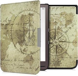 kwmobile Hülle kompatibel mit Pocketbook InkPad 3/3 Pro/Color   Kunstleder eReader Schutzhülle   Travel Vintage Braun Hellbraun