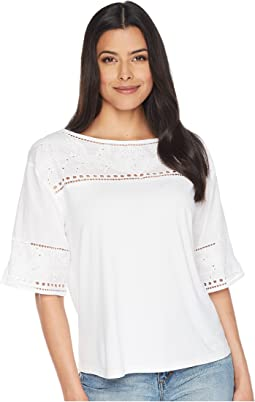 Eyelet Cotton-Blend T-Shirt