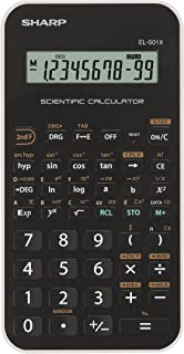 Sharp EL-501XBWH Scientific Calculator, 10-Digit LCD, Black/White