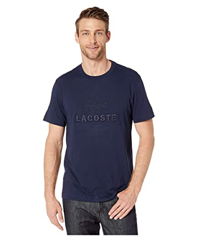 Lacoste Short Sleeve Supple Jersey Graphic Anim T-Shirt Regular (Navy Blue) Men