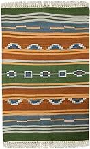 NOVICA Green Orange Hand Woven Desert Dunes' (4x6) Wool dhurrie Rug, 4