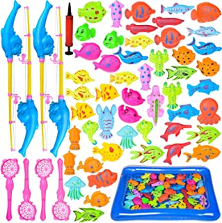FUN LITTLE TOYS 60 PCs Magnetic Fishing Toys with 22.8 in Fishing Pool, 4 Fishing Rodes, Toddler Bath Toys, Water Toys Fis...