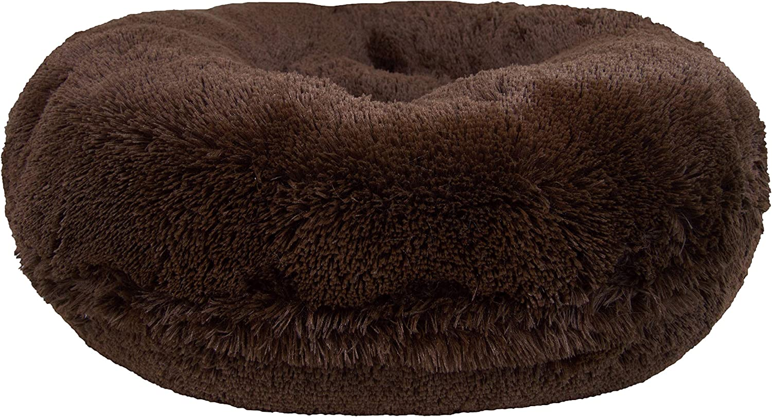 BESSIE AND BARNIE Signature Grizzly Bear Luxury Shag Extra Plush Faux Fur Bagel Pet Dog Bed (Multiple Sizes)