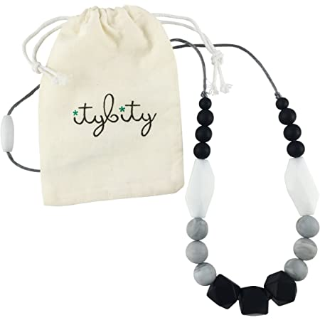 Beautiful Teething Necklace for Mum and Bub black aqua and timber beads