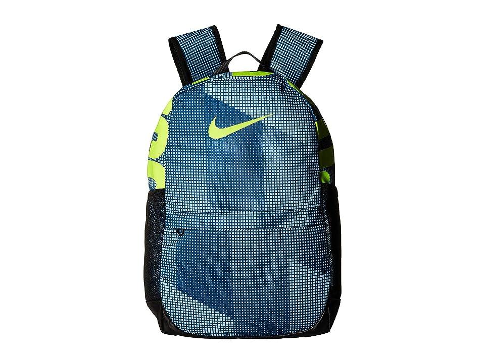 Nike Kids Brasilia Printed Backpack (Little Kids/Big Kids) (Blue Force/Black/Volt) Backpack Bags