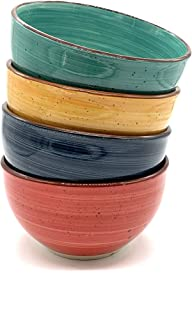 Gibson Home Color Speckle Multi Color Ceramic Bowl Sets Red, Yellow, Blue, Turquoise (Cereal Bowl Set (4pc))