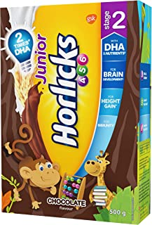 Junior Horlicks Stage 2 (4-6 years) Health and Nutrition drink - 500 g Refill pack (chocolate flavor)