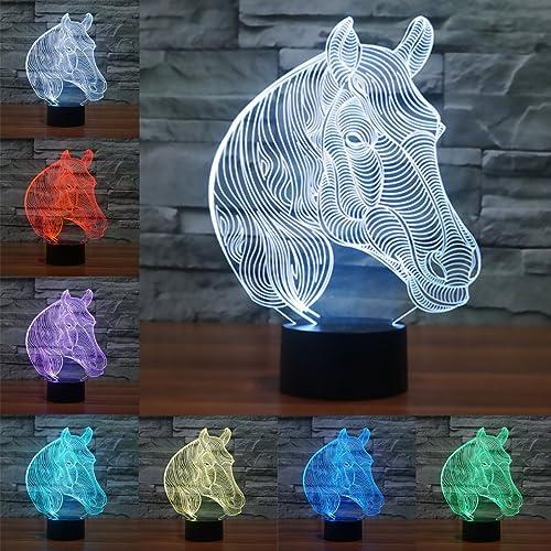 3D óptico Illusions LED Lámparas, Caballo, LSMY Lámpara de mesa de mesa táctil Decoración